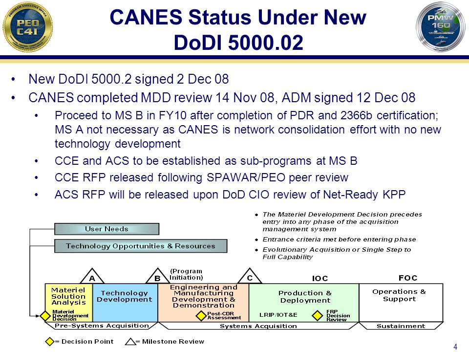 4 CANES Status Under New DoDI 5000.02 New DoDI 5000.2 signed 2 Dec 08 CANES completed MDD review 14 Nov 08, ADM signed 12 Dec 08 Proceed to MS B in FY10 after completion of PDR and 2366b certification; MS A not necessary as CANES is network consolidation effort with no new technology development CCE and ACS to be established as sub-programs at MS B CCE RFP released following SPAWAR/PEO peer review ACS RFP will be released upon DoD CIO review of Net-Ready KPP