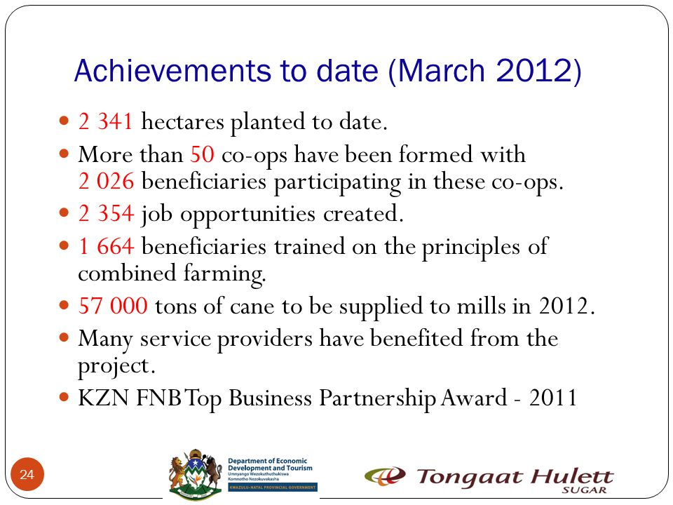 Achievements to date (March 2012) 24 2 341 hectares planted to date.