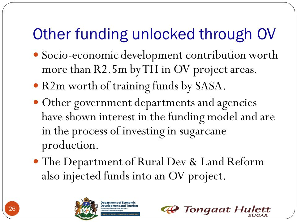 Other funding unlocked through OV 26 Socio-economic development contribution worth more than R2.5m by TH in OV project areas.