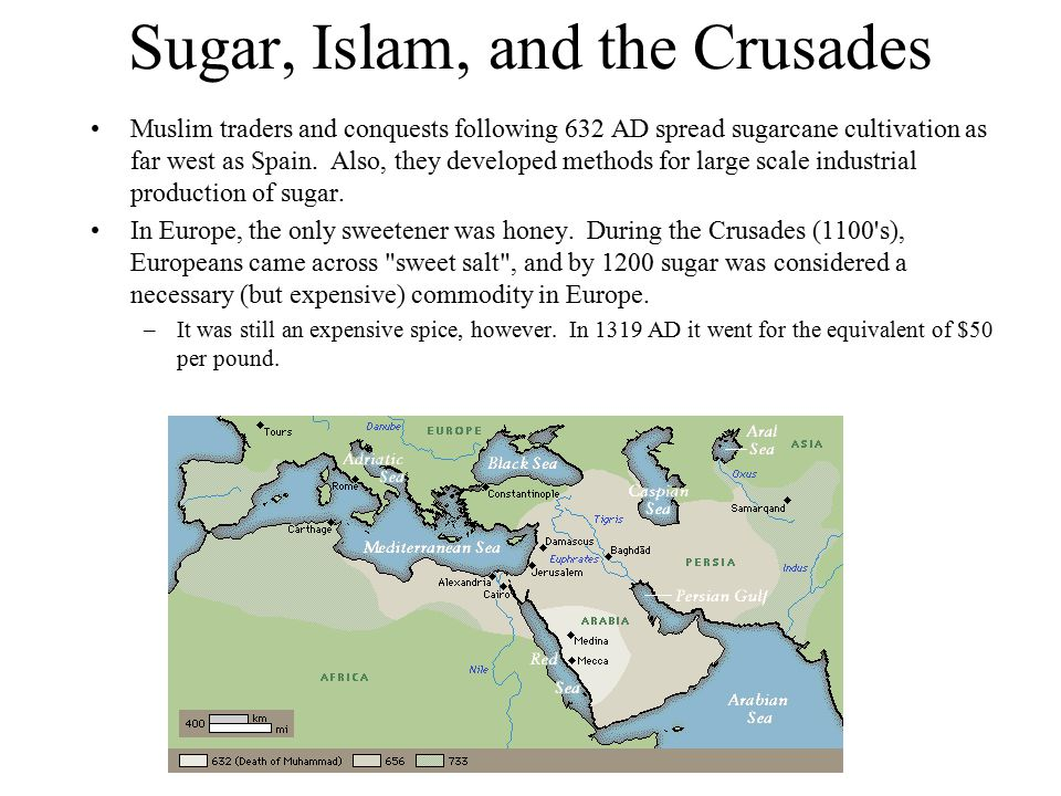 Sugar, Islam, and the Crusades Muslim traders and conquests following 632 AD spread sugarcane cultivation as far west as Spain.