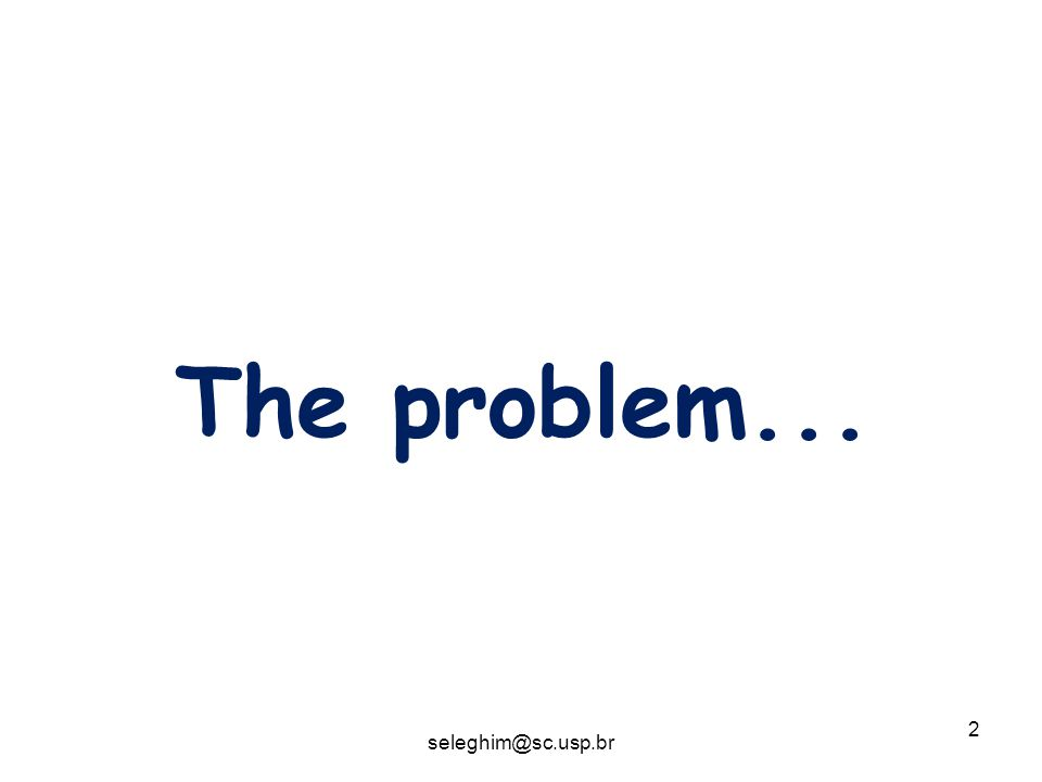 2 The problem... seleghim@sc.usp.br
