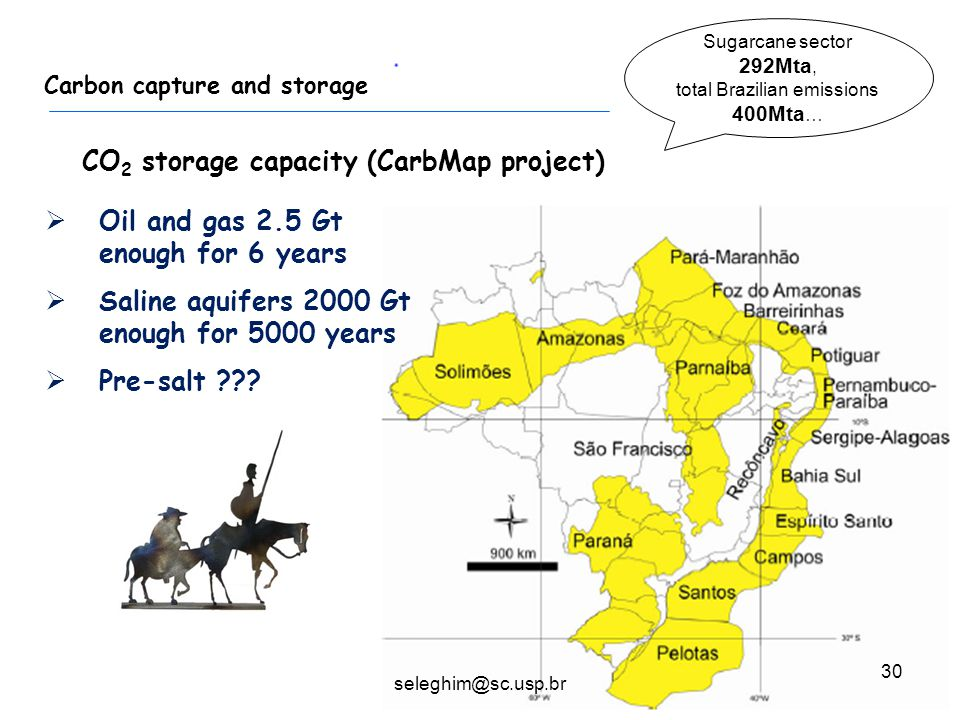 30 Carbon capture and storage  Oil and gas 2.5 Gt enough for 6 years  Saline aquifers 2000 Gt enough for 5000 years  Pre-salt ??? CO 2 storage capa