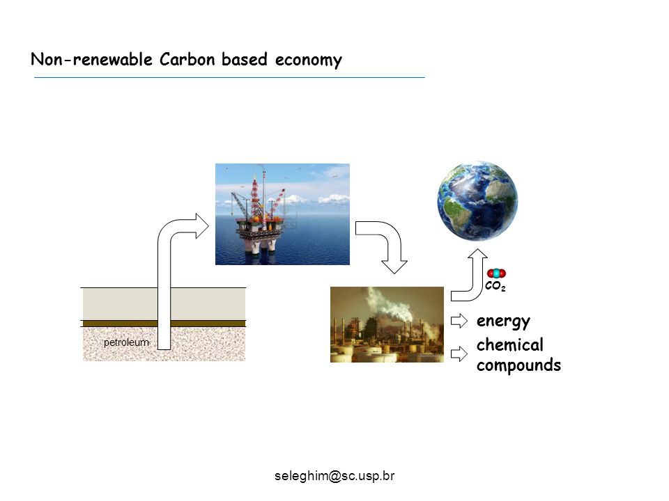 Typical sugarcane mill Non-renewable Carbon based economy CO 2 energy chemical compounds seleghim@sc.usp.br petroleum