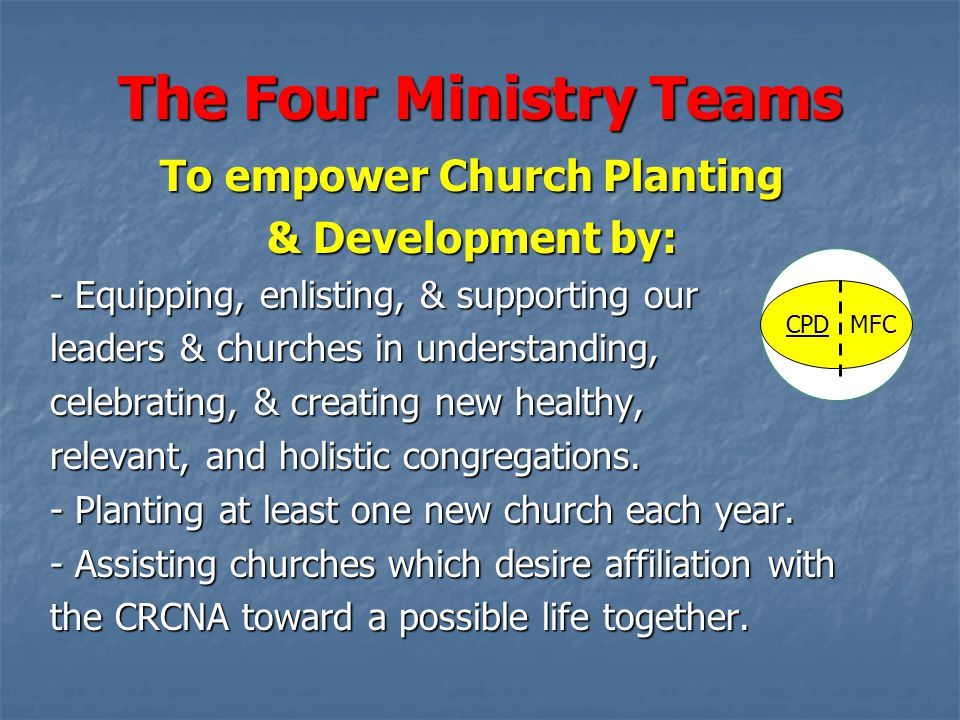 The Four Ministry Teams To empower Church Planting & Development by: - Equipping, enlisting, & supporting our leaders & churches in understanding, celebrating, & creating new healthy, relevant, and holistic congregations.
