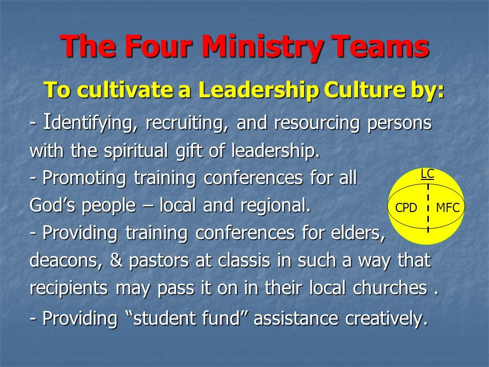 The Four Ministry Teams To cultivate a Leadership Culture by: - I dentifying, recruiting, and resourcing persons with the spiritual gift of leadership.