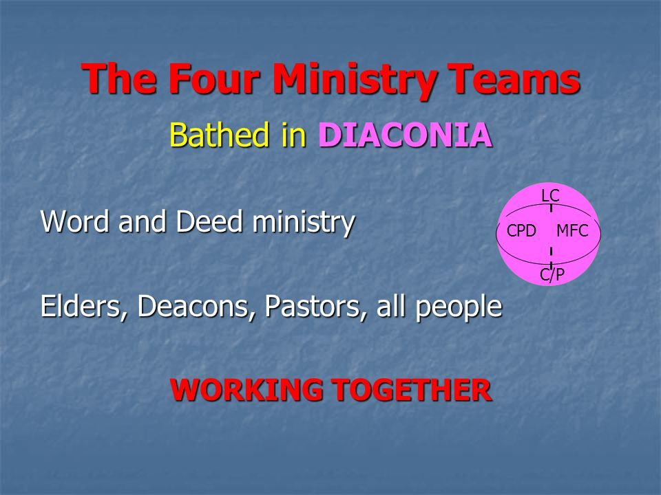 The Four Ministry Teams Bathed in DIACONIA Word and Deed ministry Elders, Deacons, Pastors, all people WORKING TOGETHER LC CPDMFC C/P