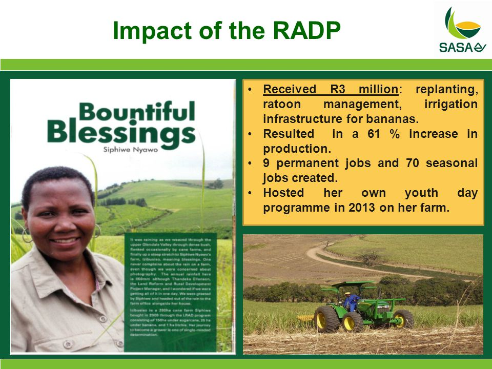 Received R3 million: replanting, ratoon management, irrigation infrastructure for bananas.