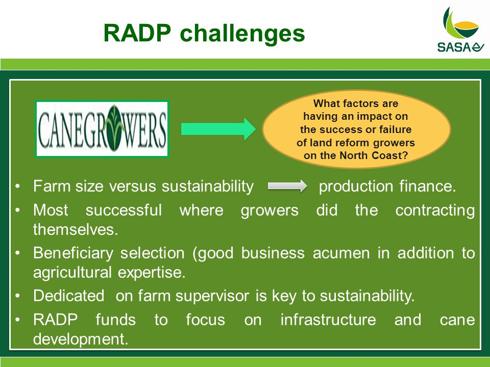 RADP challenges Farm size versus sustainability production finance.