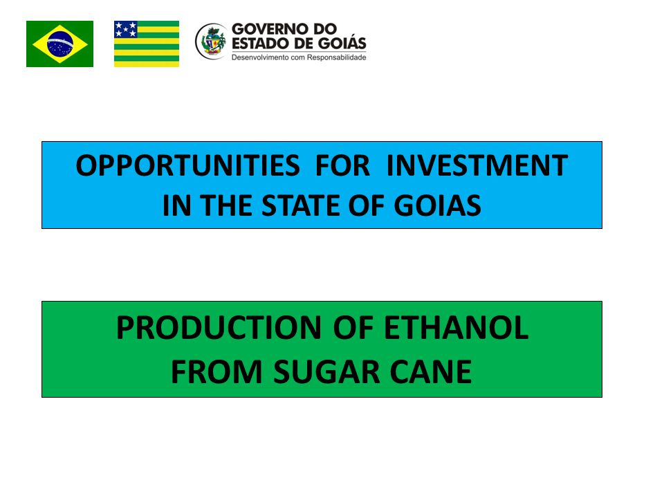 OPPORTUNITIES FOR INVESTMENT IN THE STATE OF GOIAS PRODUCTION OF ETHANOL FROM SUGAR CANE