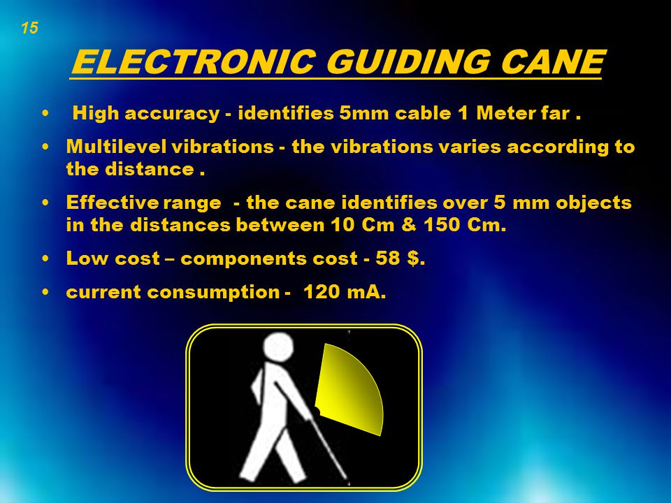ELECTRONIC GUIDING CANE High accuracy - identifies 5mm cable 1 Meter far. Multilevel vibrations - the vibrations varies according to the distance. Eff