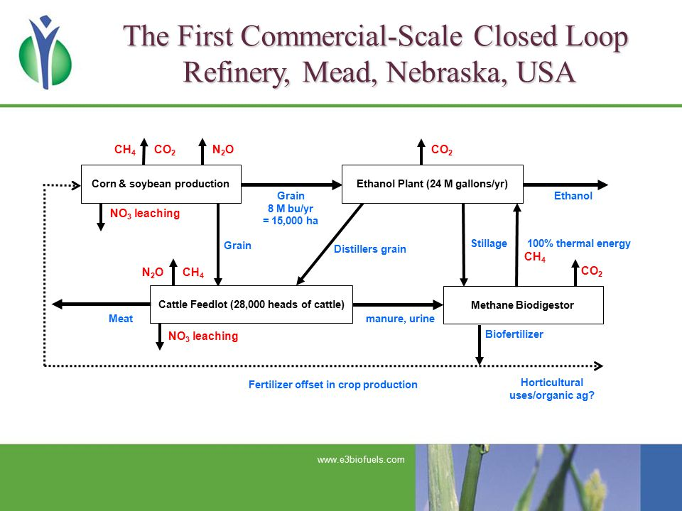 The First Commercial-Scale Closed Loop Refinery, Mead, Nebraska, USA www.e3biofuels.com CH 4 CO 2 Grain 8 M bu/yr = 15,000 ha Ethanol Distillers grain Grain NO 3 leaching N 2 O CH 4 Meat NO 3 leaching manure, urine Stillage 100% thermal energy CH 4 Biofertilizer CH 4 CO 2 Fertilizer offset in crop production Horticultural uses/organic ag.