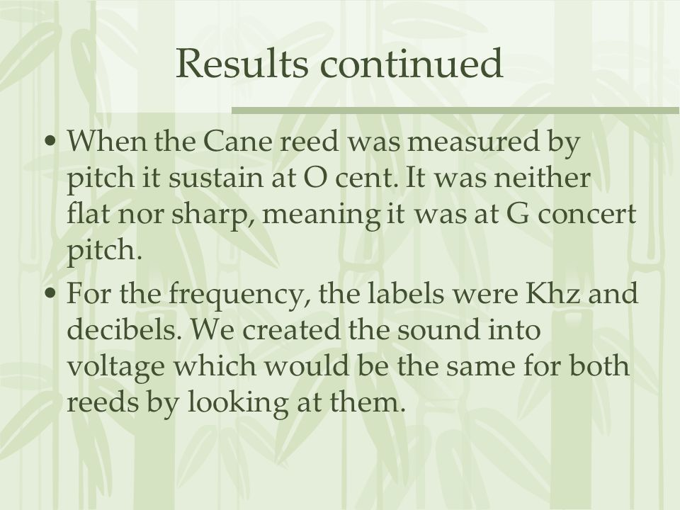 Results continued When the Cane reed was measured by pitch it sustain at O cent.