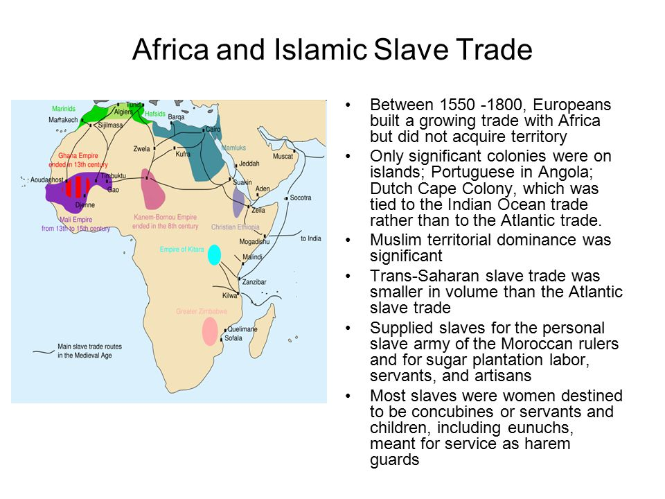 Africa and Islamic Slave Trade Between 1550 -1800, Europeans built a growing trade with Africa but did not acquire territory Only significant colonies were on islands; Portuguese in Angola; Dutch Cape Colony, which was tied to the Indian Ocean trade rather than to the Atlantic trade.