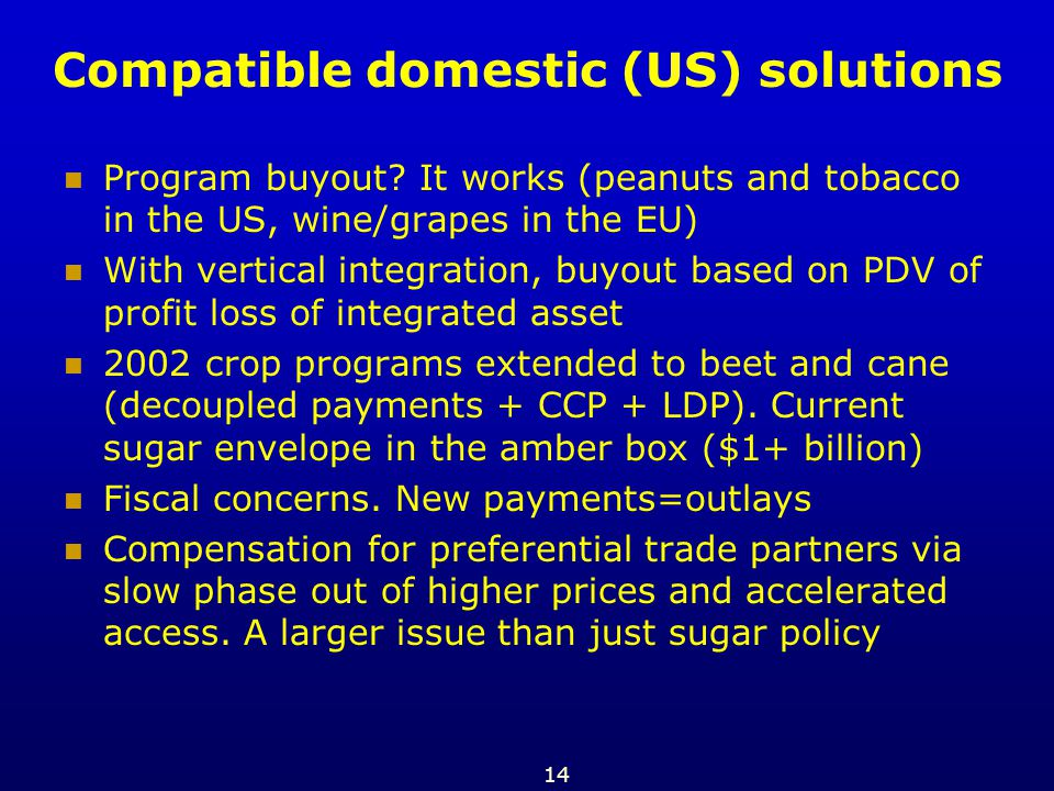 14 Compatible domestic (US) solutions Program buyout? It works (peanuts and tobacco in the US, wine/grapes in the EU) With vertical integration, buyou