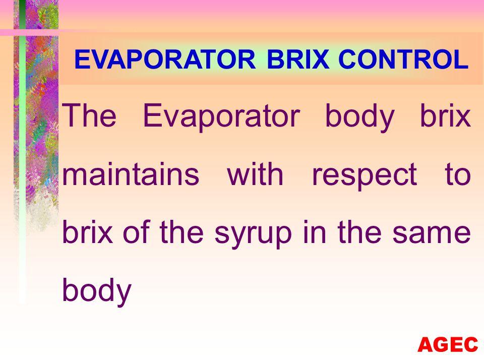 EVAPORATOR CALELDRIA PRESSURE CONTROL This Steam Pressure Control comes with respect to Caleldria Pressure and juice brix