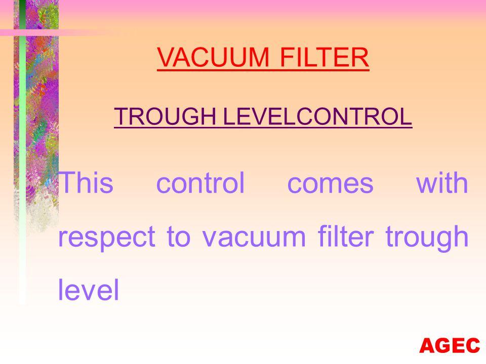 VACUUM FILTER LOW VACUUM PRESSURE This control comes with respect to vacuum filter low vacuum