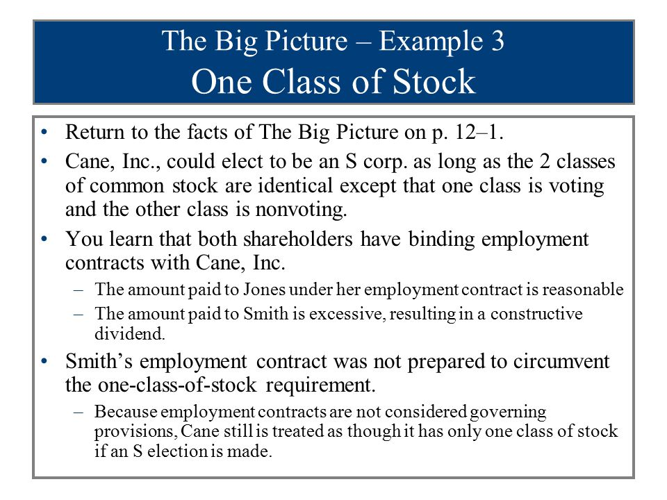 The Big Picture – Example 3 One Class of Stock Return to the facts of The Big Picture on p. 12–1. Cane, Inc., could elect to be an S corp. as long as