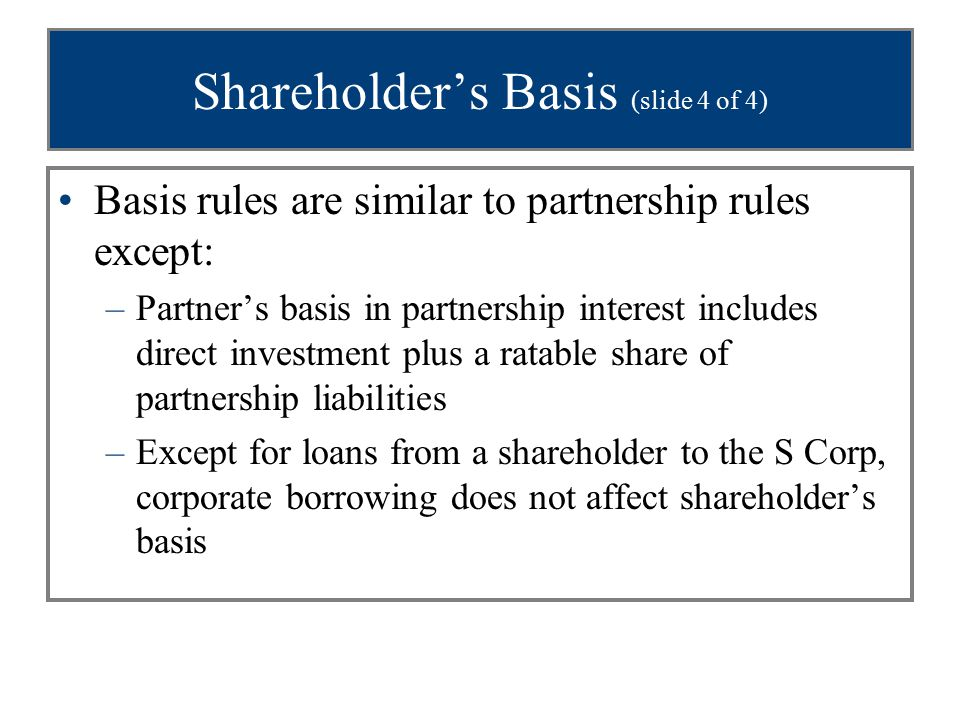 Shareholder's Basis (slide 4 of 4) Basis rules are similar to partnership rules except: –Partner's basis in partnership interest includes direct inves