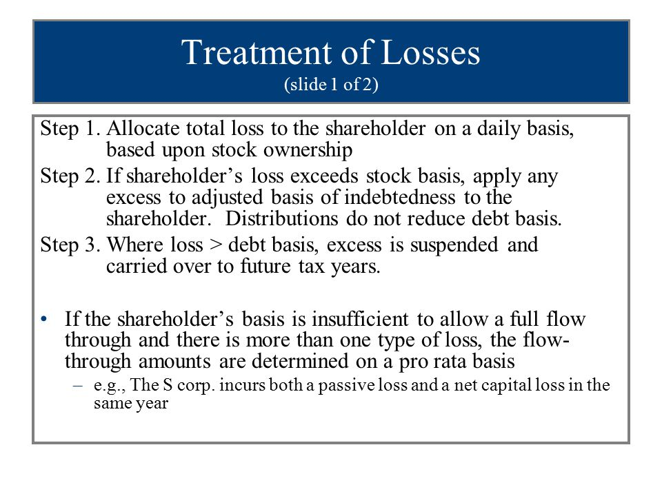 Treatment of Losses (slide 1 of 2) Step 1.Allocate total loss to the shareholder on a daily basis, based upon stock ownership Step 2.If shareholder's