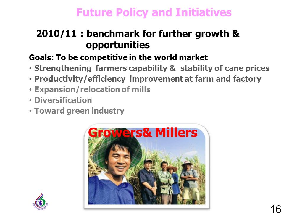 2010/11 : benchmark for further growth & opportunities 16 Future Policy and Initiatives Goals: To be competitive in the world market Strengthening farmers capability & stability of cane prices Productivity/efficiency improvement at farm and factory Expansion/relocation of mills Diversification Toward green industry Growers& Millers