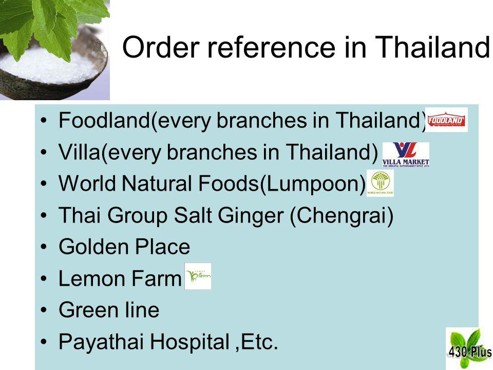 Order reference in Thailand Foodland(every branches in Thailand) Villa(every branches in Thailand) World Natural Foods(Lumpoon) Thai Group Salt Ginger (Chengrai) Golden Place Lemon Farm Green line Payathai Hospital,Etc.