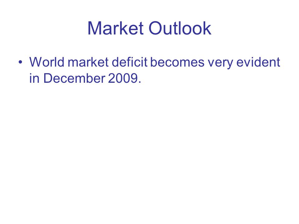 Market Outlook World market deficit becomes very evident in December 2009.