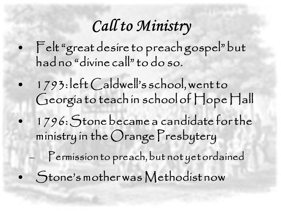 Call to Ministry Felt great desire to preach gospel but had no divine call to do so.
