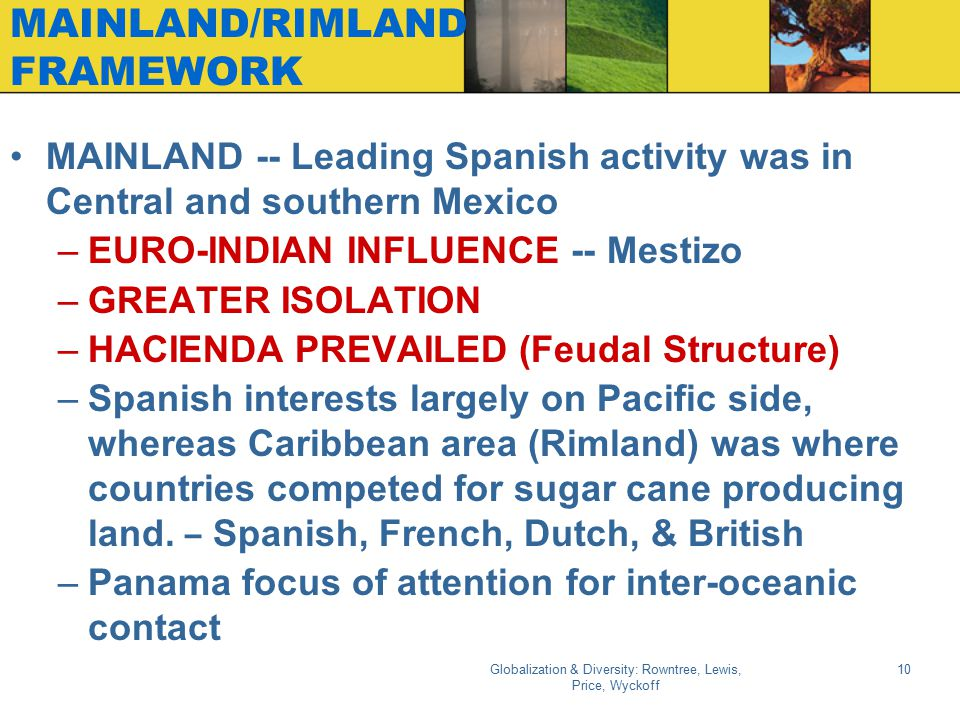Globalization & Diversity: Rowntree, Lewis, Price, Wyckoff 10 MAINLAND/RIMLAND FRAMEWORK MAINLAND -- Leading Spanish activity was in Central and south