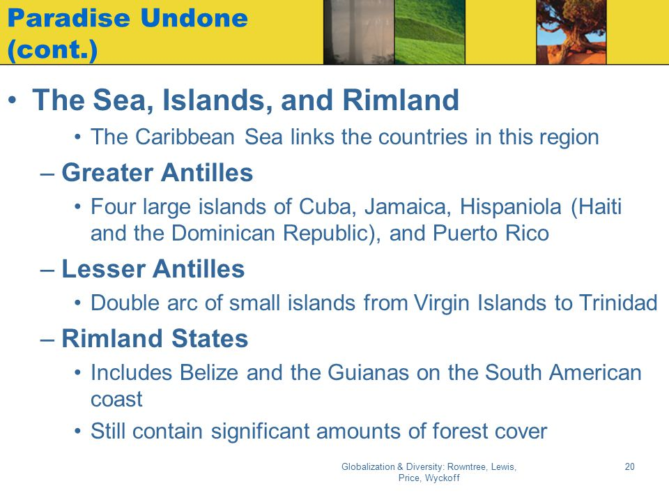 Globalization & Diversity: Rowntree, Lewis, Price, Wyckoff 20 Paradise Undone (cont.) The Sea, Islands, and Rimland The Caribbean Sea links the countr