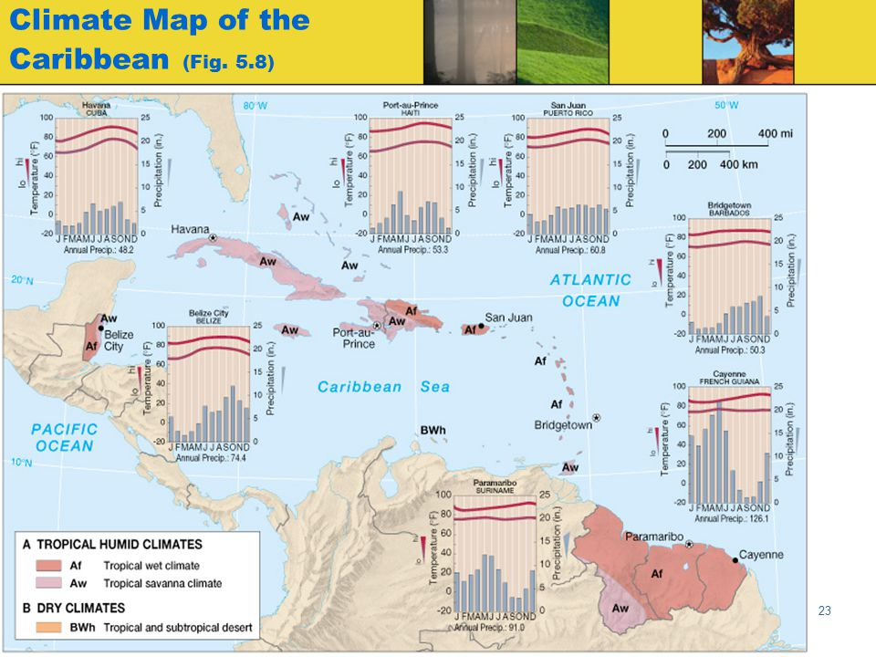Globalization & Diversity: Rowntree, Lewis, Price, Wyckoff 23 Climate Map of the Caribbean (Fig. 5.8)