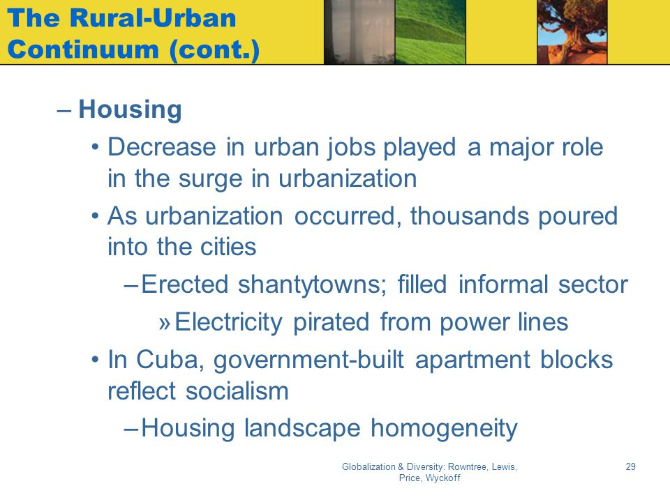 Globalization & Diversity: Rowntree, Lewis, Price, Wyckoff 29 The Rural-Urban Continuum (cont.) –Housing Decrease in urban jobs played a major role in