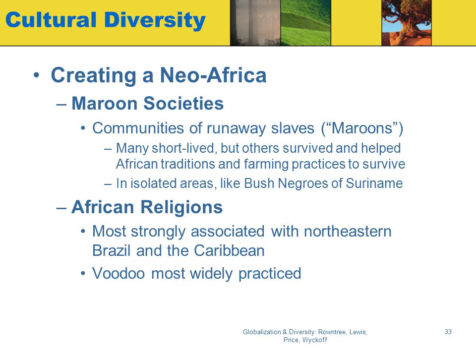 Globalization & Diversity: Rowntree, Lewis, Price, Wyckoff 33 Cultural Diversity Creating a Neo-Africa –Maroon Societies Communities of runaway slaves
