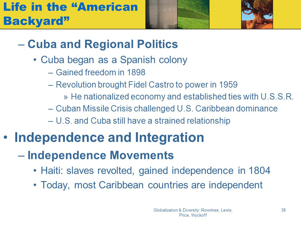 """Globalization & Diversity: Rowntree, Lewis, Price, Wyckoff 38 Life in the """"American Backyard"""" –Cuba and Regional Politics Cuba began as a Spanish colo"""
