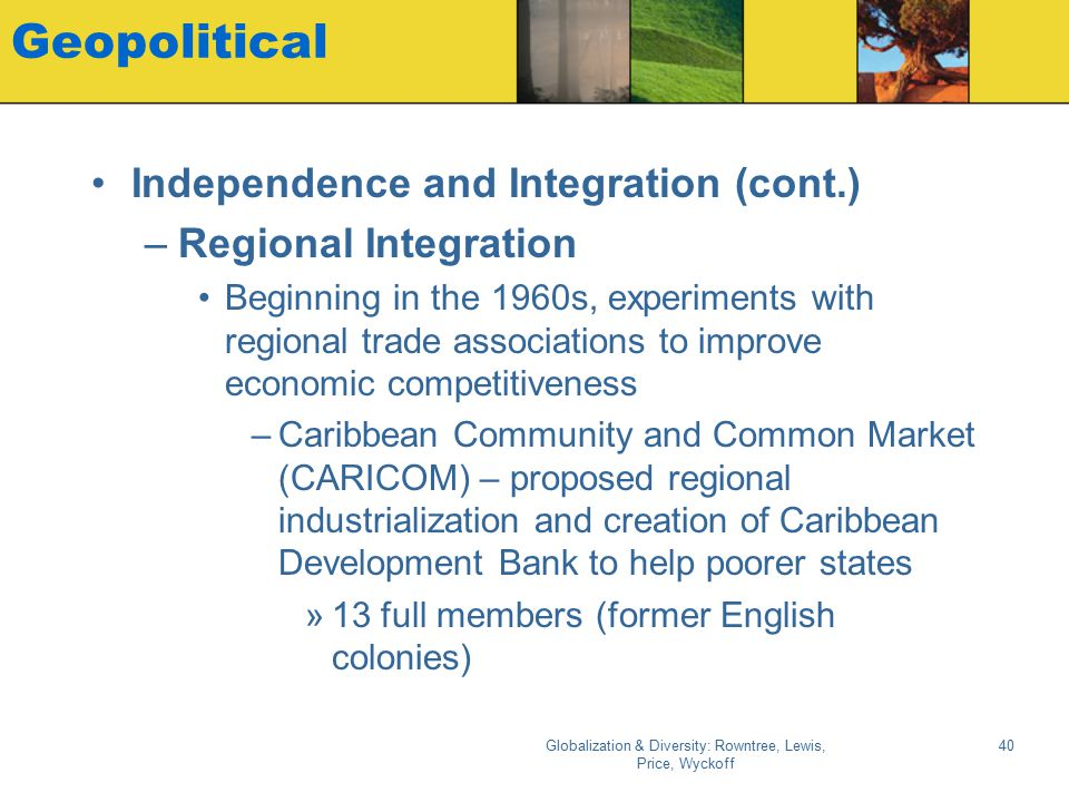 Globalization & Diversity: Rowntree, Lewis, Price, Wyckoff 40 Geopolitical Independence and Integration (cont.) –Regional Integration Beginning in the