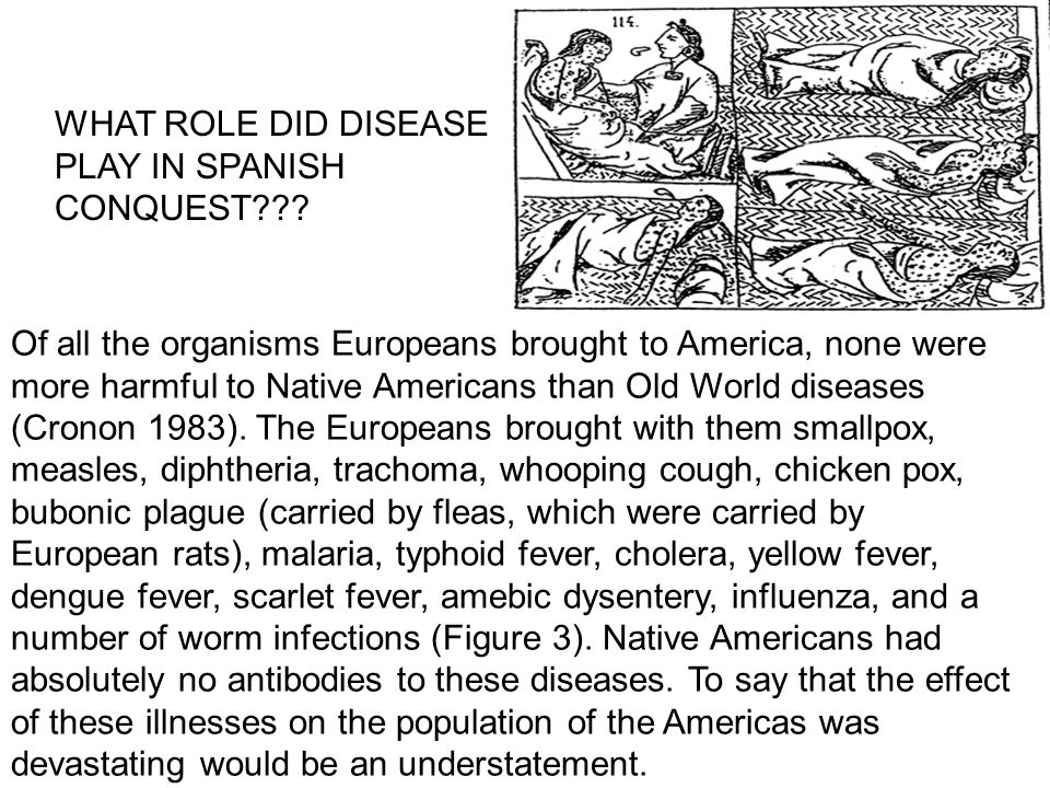 Of all the organisms Europeans brought to America, none were more harmful to Native Americans than Old World diseases (Cronon 1983).
