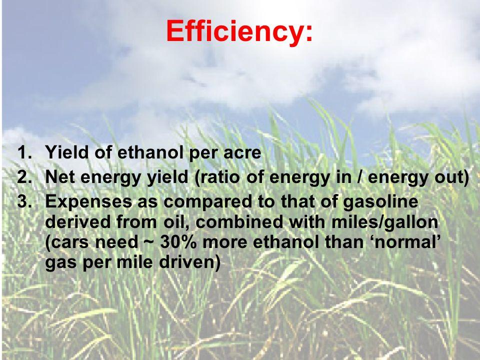 Efficiency: 1. Yield of ethanol per acre 2. Net energy yield (ratio of energy in / energy out) 3.