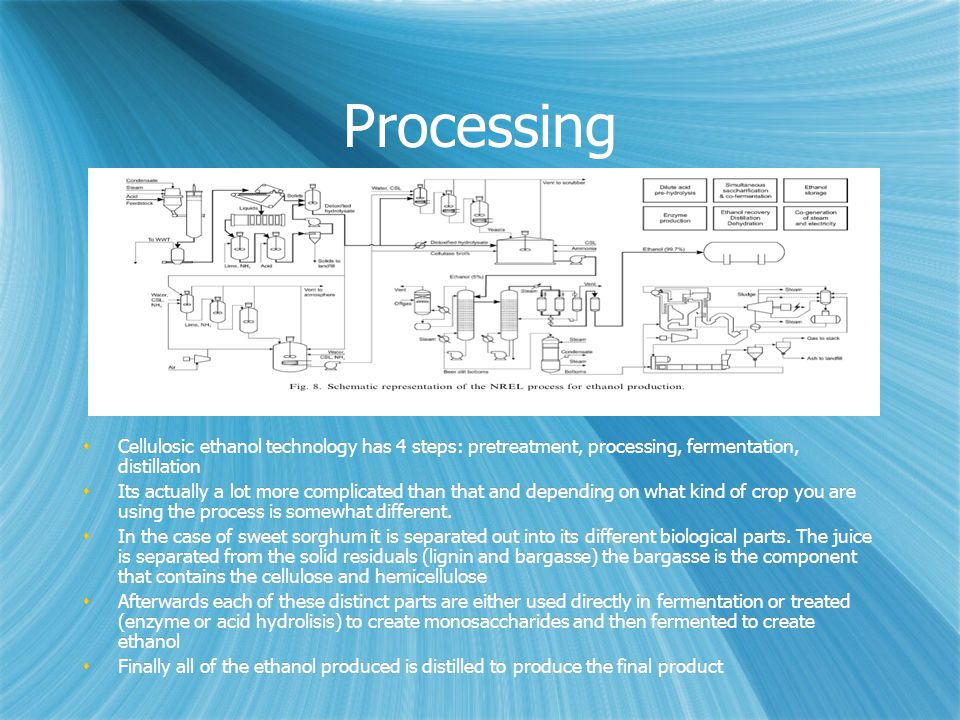 Processing  Cellulosic ethanol technology has 4 steps: pretreatment, processing, fermentation, distillation  Its actually a lot more complicated tha