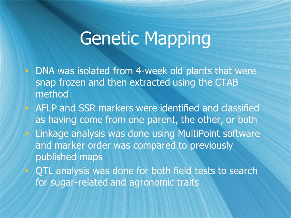 Genetic Mapping  DNA was isolated from 4-week old plants that were snap frozen and then extracted using the CTAB method  AFLP and SSR markers were i