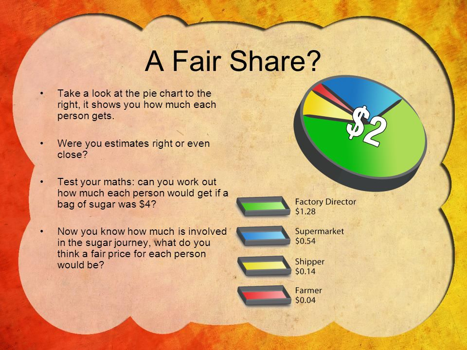 A Fair Share.Take a look at the pie chart to the right, it shows you how much each person gets.