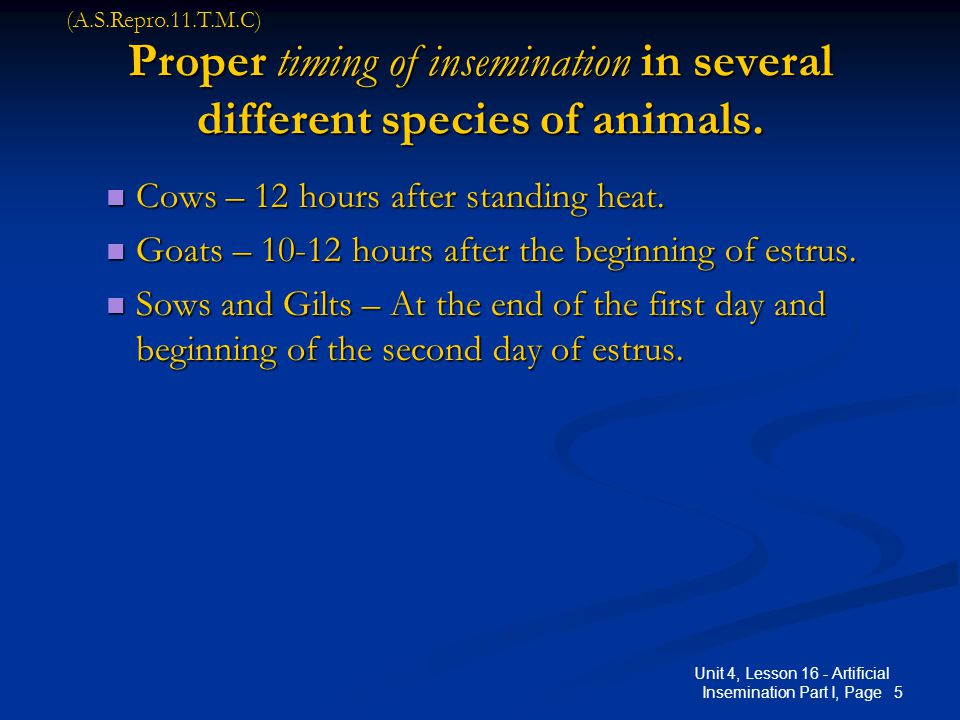 5 Unit 4, Lesson 16 - Artificial Insemination Part I, Page Proper timing of insemination in several different species of animals. Cows – 12 hours afte
