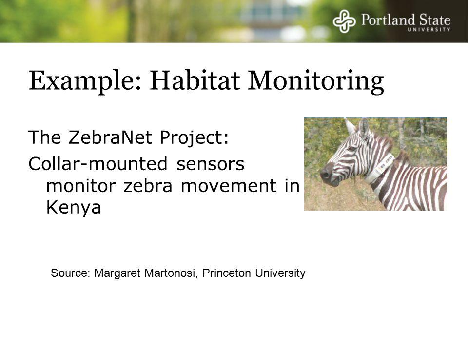 Example: Habitat Monitoring The ZebraNet Project: Collar-mounted sensors monitor zebra movement in Kenya Source: Margaret Martonosi, Princeton University