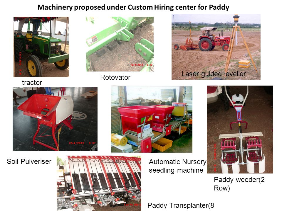 tractor Rotovator Laser guided leveller Soil Pulveriser Automatic Nursery seedling machine Paddy weeder(2 Row) Paddy Transplanter(8 Row)