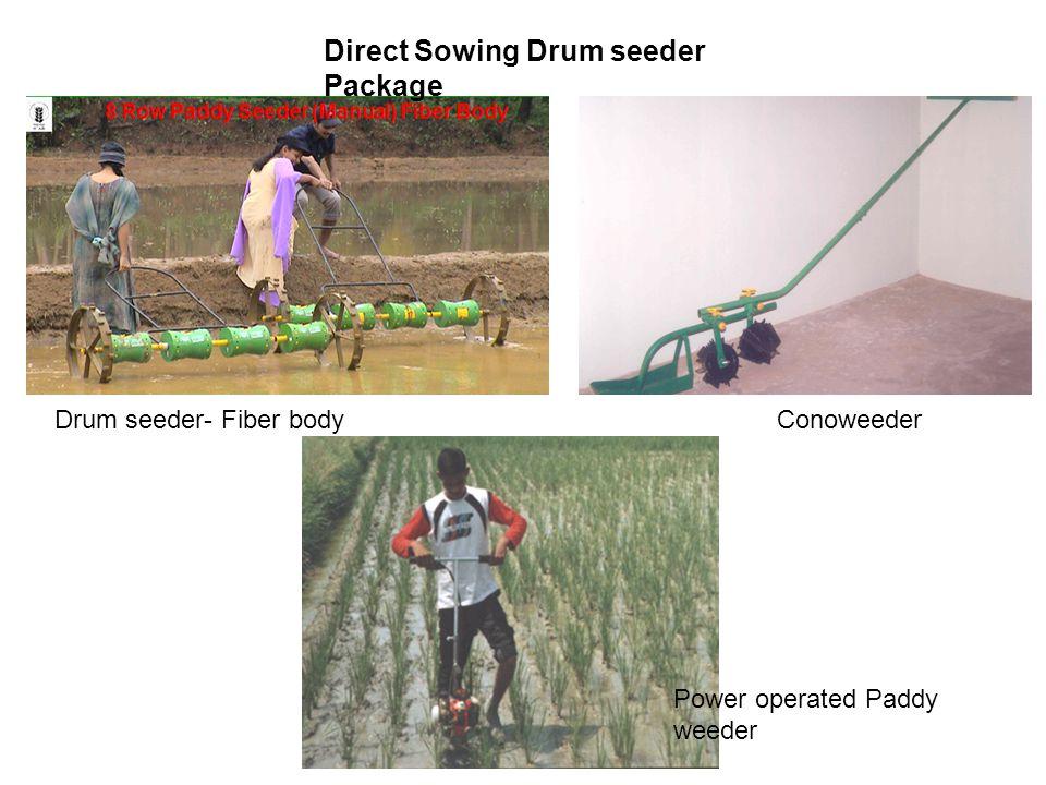 Drum seeder- Fiber body Conoweeder Power operated Paddy weeder Direct Sowing Drum seeder Package