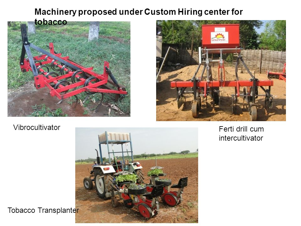 Machinery proposed under Custom Hiring center for tobacco Vibrocultivator Tobacco Transplanter Ferti drill cum intercultivator