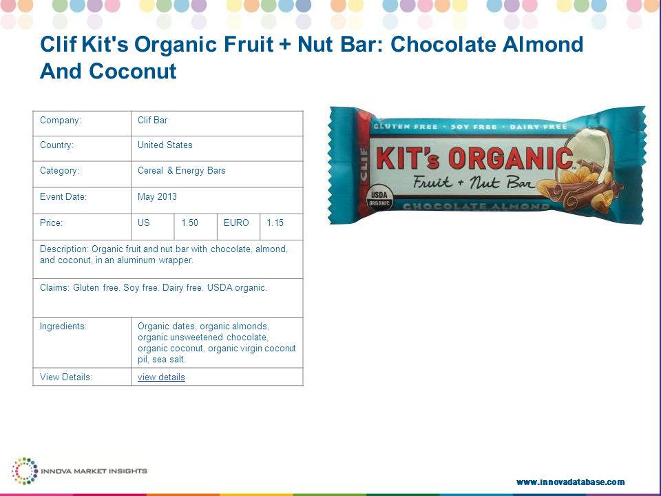 www.innovadatabase.com Company:Clif Bar Country:United States Category:Cereal & Energy Bars Event Date:May 2013 Price:US1.50EURO1.15 Description: Organic fruit and nut bar with chocolate, almond, and coconut, in an aluminum wrapper.