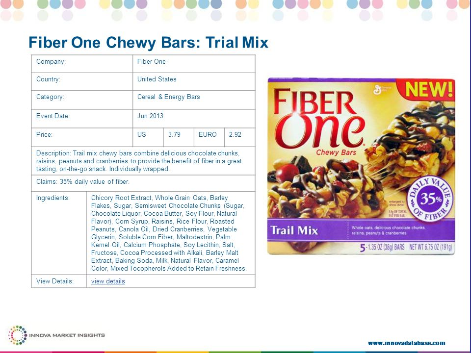 www.innovadatabase.com Company:Fiber One Country:United States Category:Cereal & Energy Bars Event Date:Jun 2013 Price:US3.79EURO2.92 Description: Trail mix chewy bars combine delicious chocolate chunks, raisins, peanuts and cranberries to provide the benefit of fiber in a great tasting, on-the-go snack.
