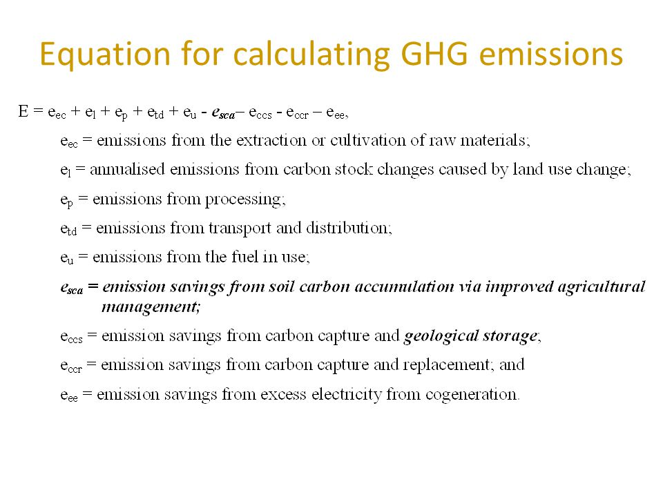 Equation for calculating GHG emissions