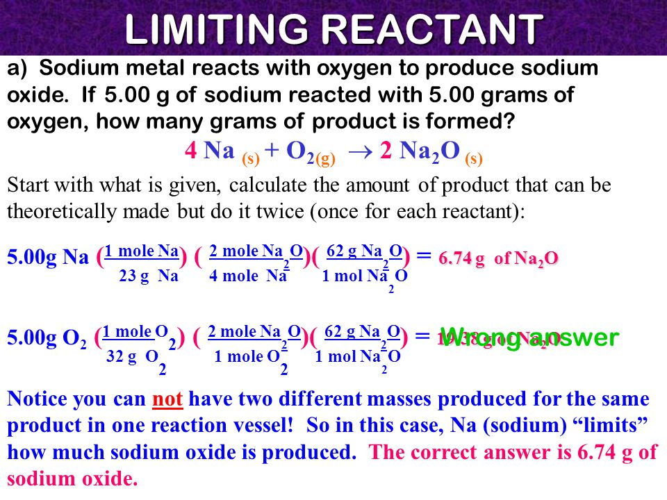 LIMITING REACTANT a) Sodium metal reacts with oxygen to produce sodium oxide.