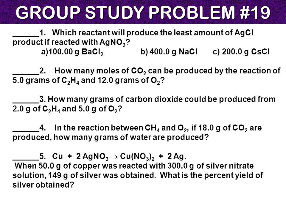 GROUP STUDY PROBLEM #19 ______1.
