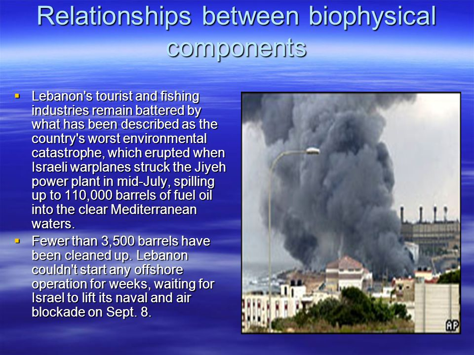 Relationships between biophysical components  Lebanon s tourist and fishing industries remain battered by what has been described as the country s worst environmental catastrophe, which erupted when Israeli warplanes struck the Jiyeh power plant in mid-July, spilling up to 110,000 barrels of fuel oil into the clear Mediterranean waters.